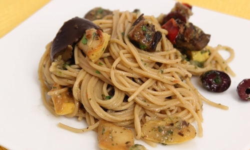 Spaghetti with Roasted Veggies