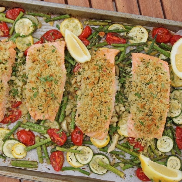 One Pan Herb Crusted Salmon and Veggies