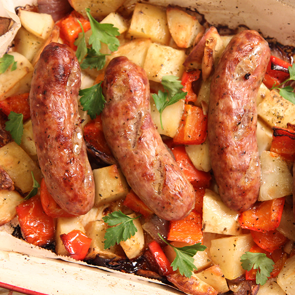 Sausage Peppers Onion and Potato Bake