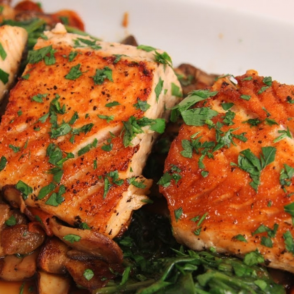 Seared Salmon with Sauteed Spinach and Mushrooms