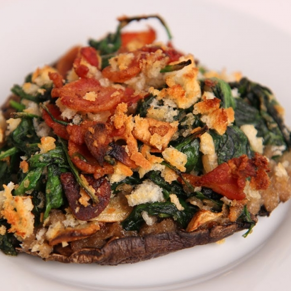 Bacon and Spinach stuffed Portobello Mushrooms