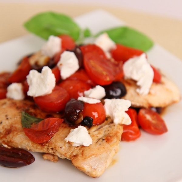 Sauteed Chicken with Cherry Tomatoes and Goat Cheese