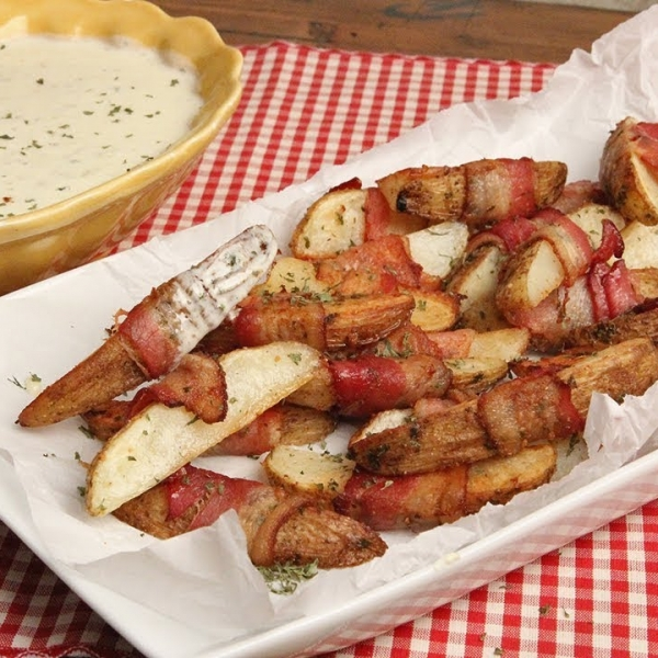 Bacon Wrapped Potatoes with Queso Blanco Dip