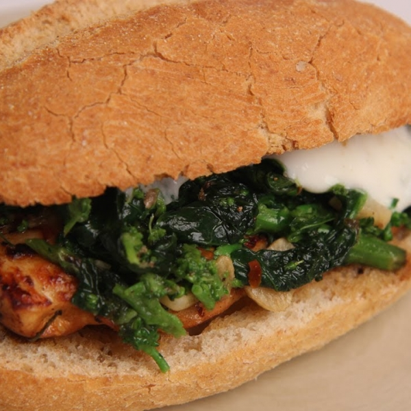 Broccoli Rabe and Chicken Sandwich
