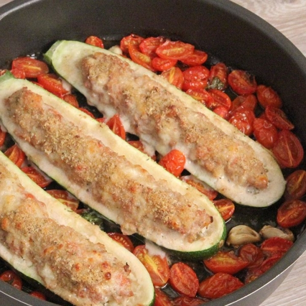 Chicken Parm Stuffed Zucchini