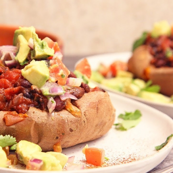 Chili Bean Stuffed Sweet Potatoes