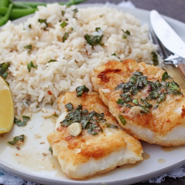Lemon and Basil Pan Seared Cod