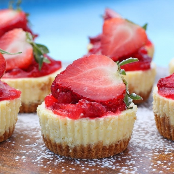 Mini Lemon Cheesecakes with Strawberry Topping