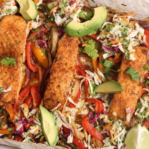 Pan Sheet Salmon Fajitas