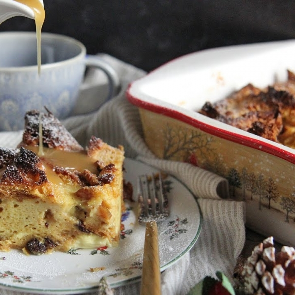 Panettone Bread Pudding with Warm Vanilla Sauce