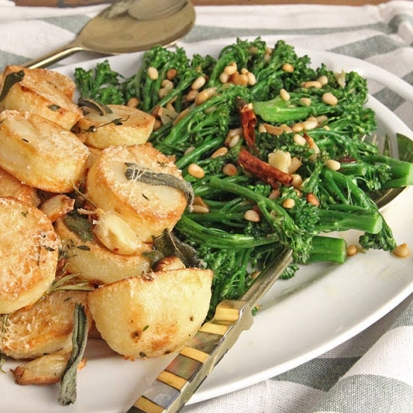 Parm Roasted Potatoes and Garlic and Pine Nut Broccolini