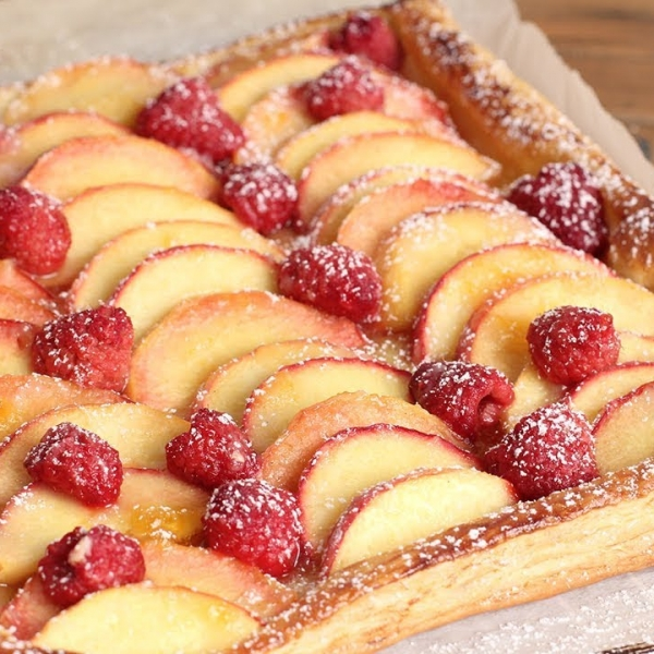 Raspberry and Peach Tart