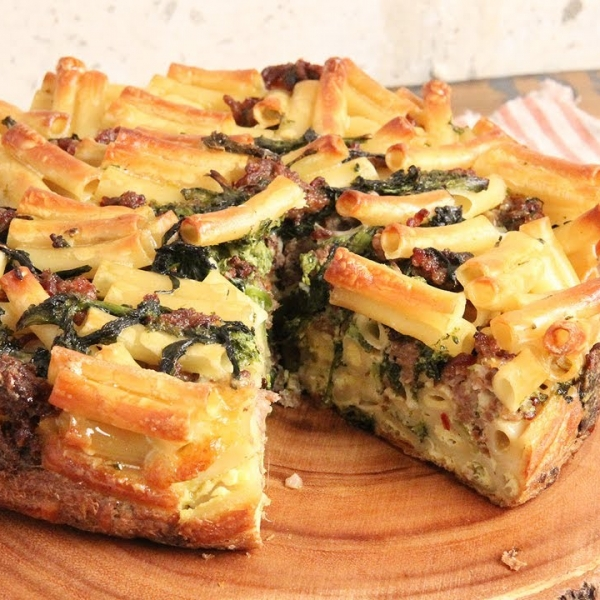 Sausage and Broccoli Rabe Pasta Pie